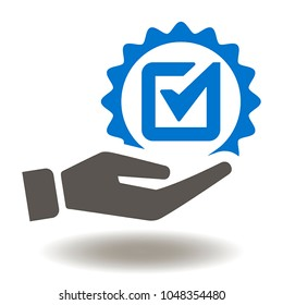 Hand Check Mark Icon Vector. Hand Gives Tick Badge Illustration. Quality Top Services Logo. Approved Symbol. Compliance.