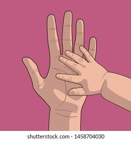 The hand of a child and the hand of an adult. The baby put his hand on his mother's palm. Children's arm and the arm of the parent. Hands on a pink background.