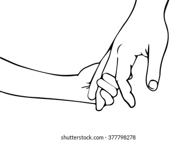 Hand of child and father or parent vector illustration hand drawn