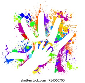 Hand of a child in the parent of a colored print. Vector