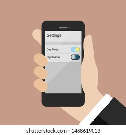 Hand choosing day mode or night mode in smartphone. Vector illustration