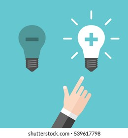 Hand choosing light bulb with plus sign instead of one with minus. Positive and negative thinking, inspiration and motivation concept. Flat design. EPS 8 vector illustration, no transparency
