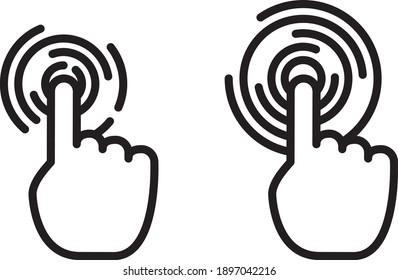 Hand choosing symbolising   interactivity icon, vector line illustration