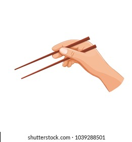 Hand with chopsticks sushi and asian food. Vector illustration