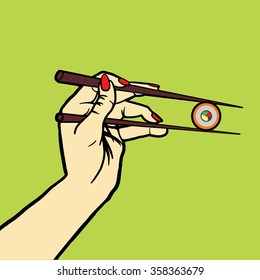 Hand with chopsticks and sushi pop art style vector illustration. Comic book style