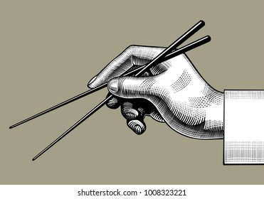 Hand with chopsticks. Vintage stylized drawing. Vector illustration