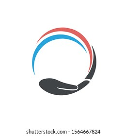 hand circle image vector icon