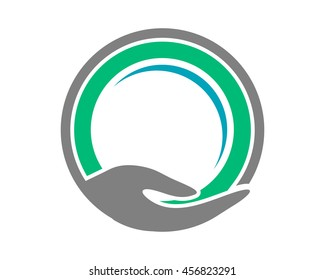 hand circle image vector icon