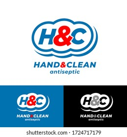 Hand and Clean. H & C monogram into rounded badge like clean cloud. Hand antiseptic medicine product. Logo and Label for antibacterial sanitizer gel.