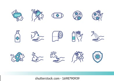 Hand cleansing, disinfection. Preventive measures against viruses and bacteria. Coronavirus control icons for your design