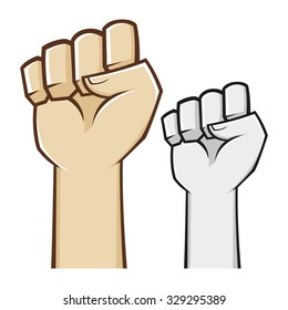 Hand clenched fist symbol in vector illustration