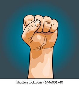 Hand clenched into a fist. Fist in a realistic style. Pop art style, comics. Isolated image..