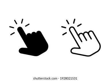Hand click icon set. pointer icon vectors. hand cursor icon vectors