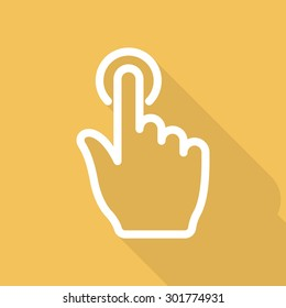 Hand click icon - vector, eps10 (line icon, long shadow)