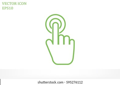 Hand click icon vector illustration eps10. Isolated badge for website or app - stock infographics.