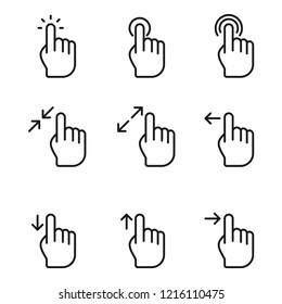 Hand Click Icons Set. Simple flat design. Isolate on white background.