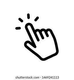 Hand click linear icon. Finger cursor pointer vector.