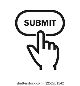 Hand click submit button. Simple flat design. Isolate on white background.
