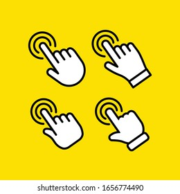 Hand click vector icon. Set of clicking pointers.
