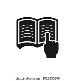 Hand clicking book. Reading icon concept isolated on white background. Vector illustration