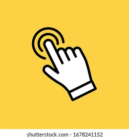 Hand clicking icon. Click pointer vector.