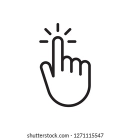 Hand clicking icon, cursor pointer. Touch icon. Vector Illustration. Isolate on white background
