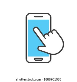Hand clicking mobile phone. Cellphone icon with finger swipe.