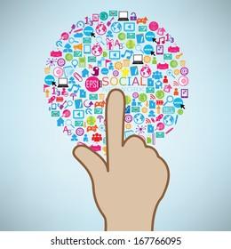 Hand clicking social icon. Concept vector illustration, EPS10.
