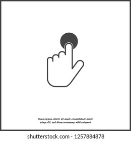 The hand clicks on the button. Cursor icon on white isolated background. Layers grouped for easy editing illustration. For your design.