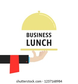hand with cloche like business lunch. concept of gourmet person with cuisine and free hour for employee in eatery. simple trend modern cater foodie word logotype graphic cartoon isolated on white