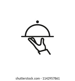 Hand with cloche line icon. Waiter, food, dish. Service concept. Vector illustration can be used for topics like menu, restaurant, dinner, catering