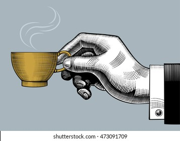 Hand with a coffee cup. Vintage stylized drawing. Vector illustration