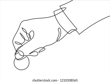 Hand with Coin money-continuous line drawing