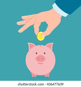 Hand with coin and piggy bank. Hand holding coin. Concept of savings, earnings. Collect to pig bank. Saving coins to piggy bank.
