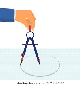 Hand with compass for drawing. Technical tool architect, engineer. Compass hold in hand. Vector illustration flat design. Isolated on white background.