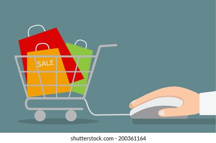 Hand with computer mouse and shopping cart with sale. Vector illustration.