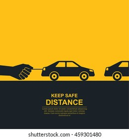 Hand constraining car speed symbolizes increase in distance between vehicles, reduction of speed. Concept of safety and fail-safety on roads, observance of traffic regulations. Vector illustration