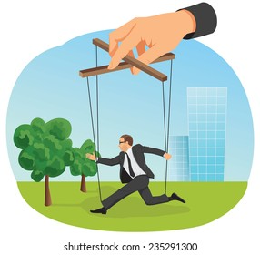 Hand control a marionette businessman action