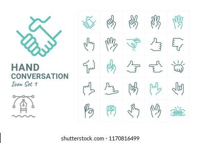 Hand Conversation vector icon set 1