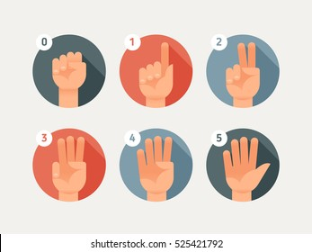 Hand count. Flat finger and number. One, two, three, four, five.