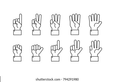 Hand with counting fingers vector line symbols. Human hand and finger gesture symbol illustartion