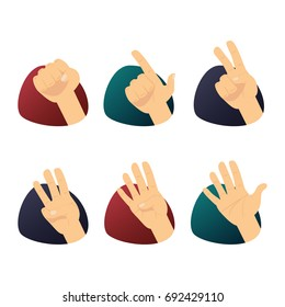 Hand counting. Flat finger and number isolated on white background.