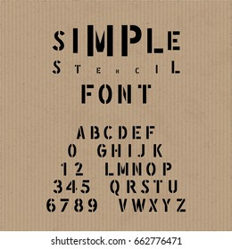 Hand Crafted Modern Font Lettering Named Simple Stencil - Black Caps and Numerals on Brown Cardboard Background - Vector Typography Design