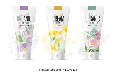 Hand cream on cosmetic plastic tube on white background.