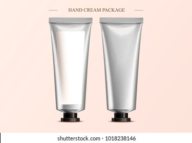 Hand cream package design, blank cosmetic tube mockup template in 3d illustration, one with label and one without
