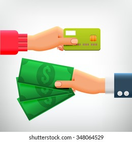 Hand with Credit Card and Hand with Cash. Concepts of Payment methods, Investment, Cash Withdrawal, Business, Online Payment, Cash Back.