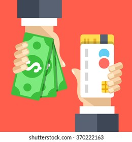 Hand with credit card and hand with cash money flat illustration. Atm, cashback, withdrawal. Modern flat design concepts for web banners, websites, printed materials, infographics. Vector illustration