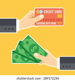 Hand with credit card and hand with cash. Payment methods, cash-out, smart investment, business, cash withdrawal, business, online payment concepts. Flat design. Creative vector illustration