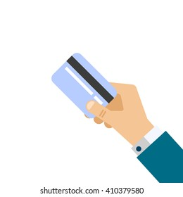 Hand with credit card. Flat design. vector illustration