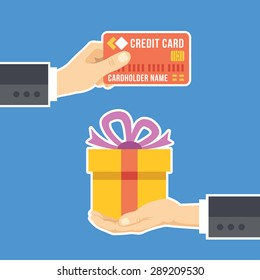 Hand with credit card and hand with gift. Gift delivery, surprise, loyalty program concepts. Flat design. Creative vector illustration